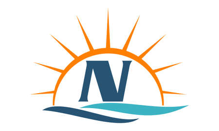 Wave Sunset Initial N