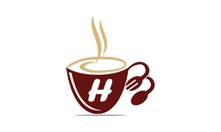 Coffee Cup Restaurant Letter H Illustration