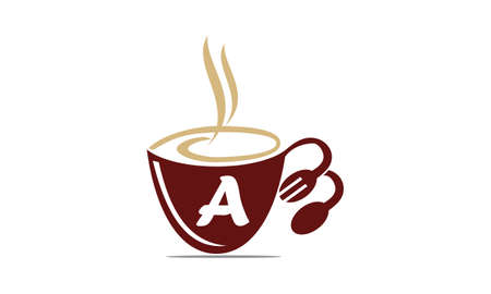 Coffee Cup Restaurant Letter A Illustration