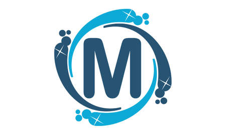 Water Clean Service Abbreviation Letter M Illustration