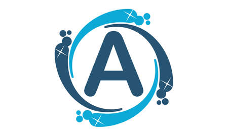 water liquid letter: Water Clean Service Abbreviation Letter A Illustration