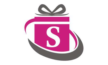 Gift Box Ribbon Letter S Illustration