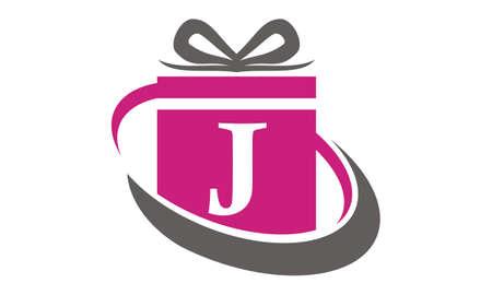 Gift Box Ribbon Letter J Illusztráció