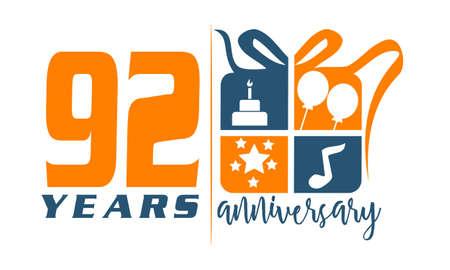 92: 92 Years Gift Box Ribbon Anniversary