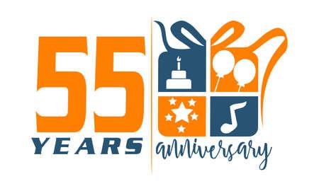 55 Years Gift Box Ribbon Anniversary Illustration