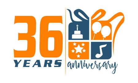 number 36: 36 Years Gift Box Ribbon Anniversary Illustration