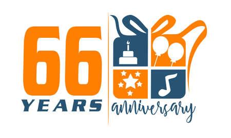 66 Years Gift Box Ribbon Anniversary