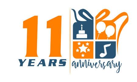 11 Years Gift Box Ribbon Anniversary