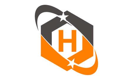 Star Swoosh Letter H Stock Illustratie