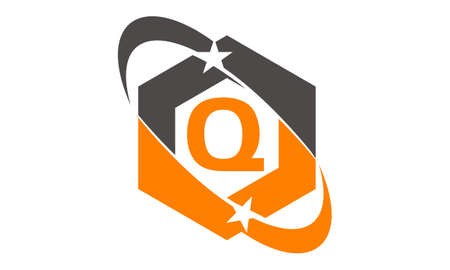Star Swoosh Letter Q