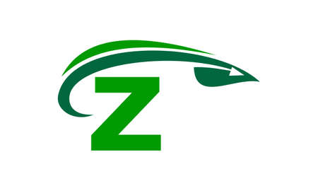 grass blades: Swoosh Leaf Initial Z Illustration
