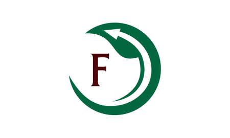 Swoosh Leaf logo with letter F Illustration
