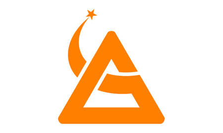 Triangle Swoosh Star Letter A Illustration