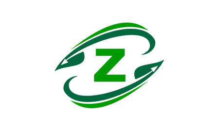 Swoosh Leaf Initial Z Illustration