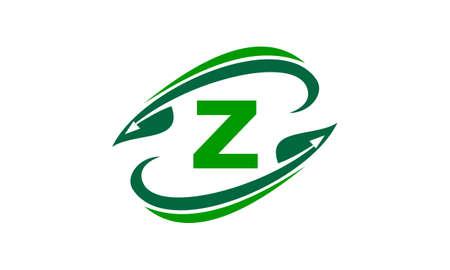 Swoosh Leaf Initial Z Illustration