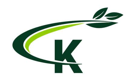 Swoosh Leaf Letter K Vettoriali