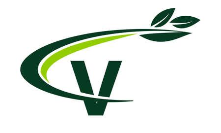 Swoosh Leaf Letter V