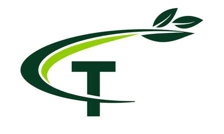 grass blades: Swoosh Leaf Letter T