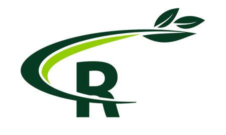 Swoosh Leaf Letter R
