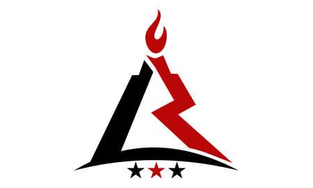 Modern Logo Solution Letter L R Fire Illustration