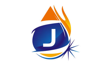 Water Fire Flame Gas Oil Initial J Illustration