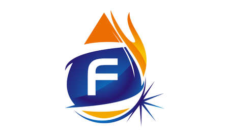 Water Fire Flame Gas Oil Initial F Illustration