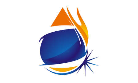Water Fire Flame Gas Oil Illustration