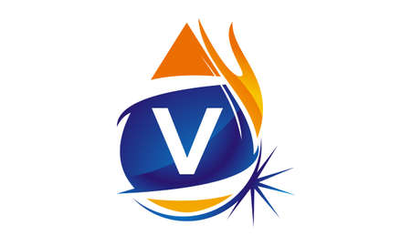 Water Fire Flame Gas Oil Initial V Illustration