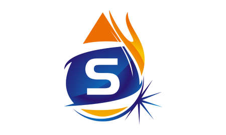 Water Fire Flame Gas Oil Initial S Illustration