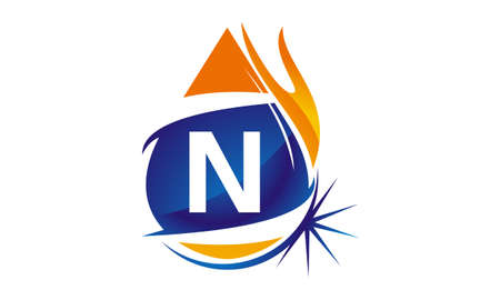 Water Fire Flame Gas Oil Initial N Illustration