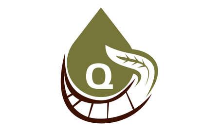 Oil Olive Nature Leaf Initial Q Illustration