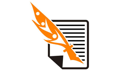 Vector of document with pen on white background