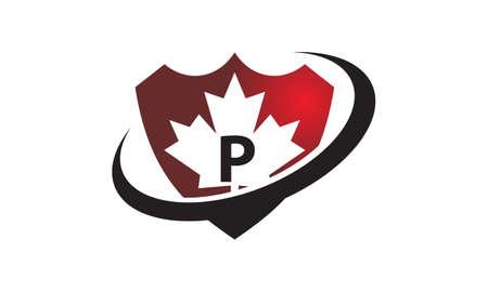Canada Shield Swoosh Initial P Illustration