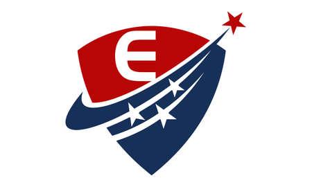 Star Swoosh Letter E