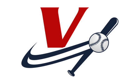fastball: Base Ball Letter V Illustration