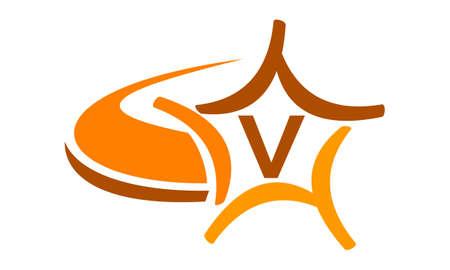 Star Swoosh Letter V