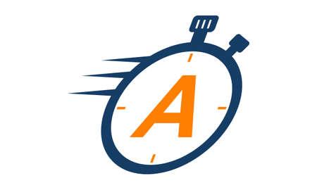 Letter A Stopwatch Logo Illustration