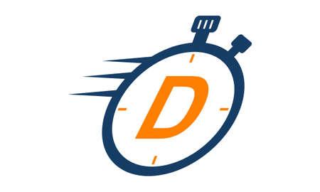 Letter D Stopwatch Logo