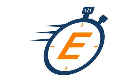 Letter E Stopwatch Logo