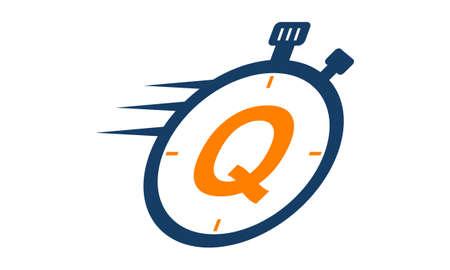 Letter Q Stopwatch Logo