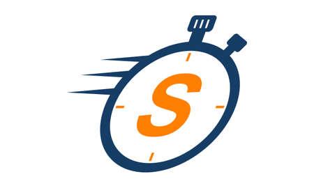 Letter S Stopwatch Logo Illusztráció