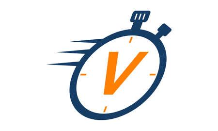 accelerated: Letter VStopwatch Logo