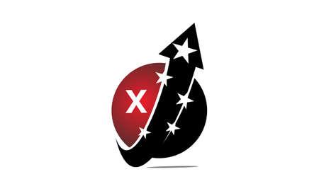 Global Arrow Swoosh Stars Initial X