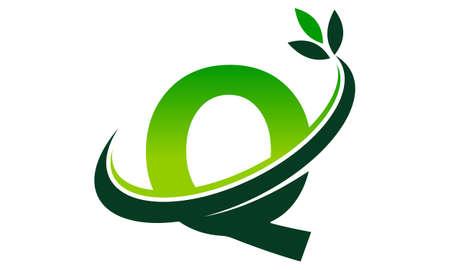 Swoosh Leaf Letter Q
