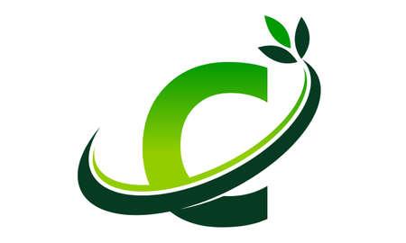 Swoosh Leaf Letter C