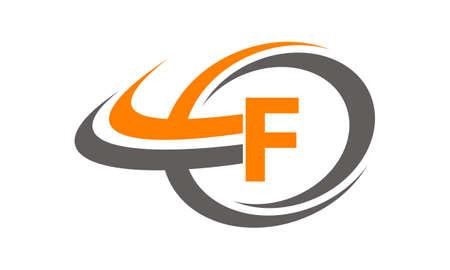 asociacion: Swoosh Center Letra F Vectores
