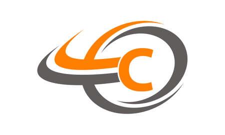 Swoosh Center Letter C  イラスト・ベクター素材