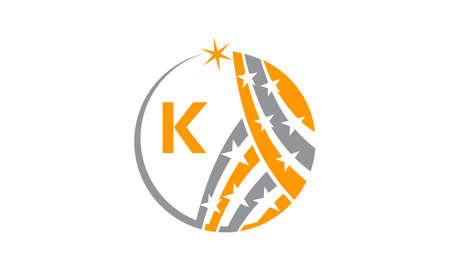 Star Swoosh Solution Initial K Illustration