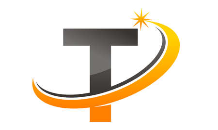 Star Swoosh Letter T Illustration