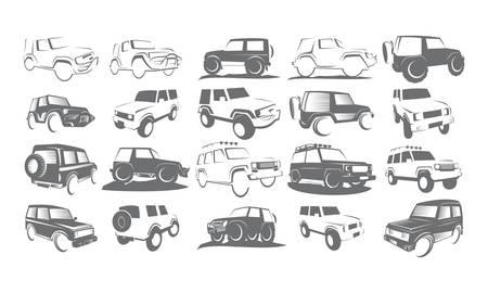 vehicle icon: Adventure Car Bundle Collection Set Illustration